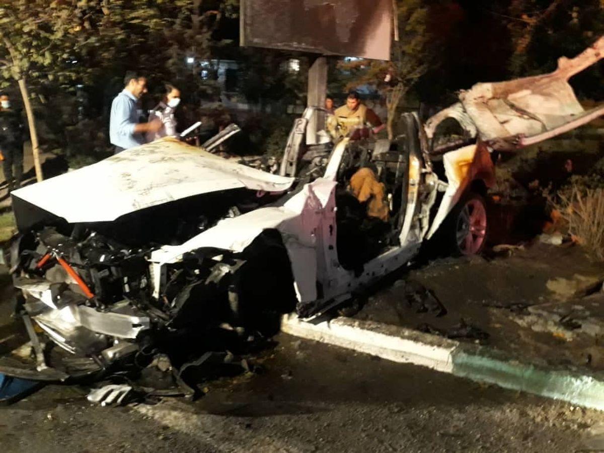 بی ام و سواران تهرانی زنده زنده سوختند | تصاویر دلخراش